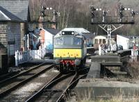 Heading for the shed. Having completed a tour of duty on the NYMR on 26 March, no 7639 traverses the level crossing at the south end of Grosmont station and runs onto the bridge over the River Esk on its way back to Grosmont shed.<br><br>[John Furnevel&nbsp;26/03/2010]