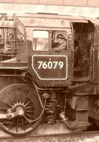 A sepia study of 76079 at Whitby in September 2009 waiting to propel a NYMR train out into the run-round loop.<br><br>[Colin Miller&nbsp;29/09/2009]
