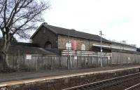 The old goods shed alongside Busby station on 17 March 2010.<br><br>[David Panton&nbsp;17/03/2010]
