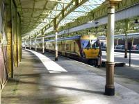The next train to Glasgow Central stands at platform 1 at Wemyss Bay on 2 April 2010.<br><br>[Veronica Inglis&nbsp;02/04/2010]