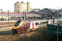 A CrossCountry service pulls out of York on 25 March and heads north on the ECML .<br><br>[John Furnevel&nbsp;25/03/2010]