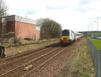 The afternoon northbound <I>East Coast</I> HST about to race through Markinch station on 8 April 2010.<br> <br><br>[Brian Forbes&nbsp;08/04/2010]