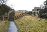 Pedestrian access to the site of Bowes station on 20 March 2010. The steps up from alongside the A67 cross a farm access road half way, on the far side of which a second flight leads up to the station itself. Part of the remains can be seen just above the steps [see image 28262], while the medieval castle - like structure on the right is in fact the remains of a goods shed. Between the two ruins is the roof of a large farm building that now stands on the trackbed.<br><br>[John Furnevel 20/03/2010]