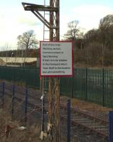 A notice to the driver on an armless signal post on the approach to <br> Rosyth Dockyard, photographed on 27 March.� Don't confuse 'Train Staff' with Train Crew, as I first did, or it becomes a little absurd. <br> <br><br>[David Panton&nbsp;27/03/2010]