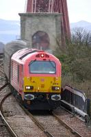 67018 <I>Keith Heller</I> coming off the Forth Bridge on 9 April 2010 with the 17.21 Edinburgh - Cardenden service.<br> <br><br>[Bill Roberton&nbsp;09/04/2010]