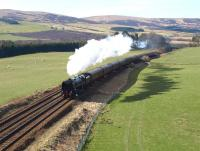 The <I>Great Britain III</I> heads north at Peterhead Farm just south of Gleneagles on 11 April 2010 with Britannia Pacific no 70013 <I>Oliver Cromwell</I> in charge.<br><br>[Brian Forbes&nbsp;11/04/2010]
