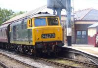 Hymek D7076 about to leave Ramsbottom in July 2008 with a train on the East Lancs Railway.<br><br>[Craig McEvoy&nbsp;06/07/2008]