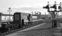 D3985 shunts platform 6 at Aberdeen station in a low winter sun on 7 February 1973.<br> <br><br>[John McIntyre&nbsp;07/02/1973]