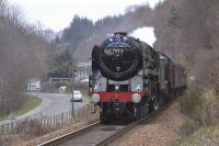 <I>The Great Britain III</I> approaching Pitlochry on 13 April 2010, with 61994 coupled 'inside' and the driver of 70013 whistling for the private level crossing.  <br><br>[Bill Roberton&nbsp;13/04/2010]