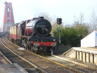 6201 <I>Princess Elizabeth</I> comes off the Bridge on 13 April around 20 minutes ahead of the <I>The Great Britain III</I> moving south in preparation for hauling the special from Edinburgh to York the following morning.�<br><br>[Mark Poustie&nbsp;13/04/2010]