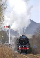 70013 accelerating <i>The Great Britain III</i> away from Pitlochry on 13 April after passing a northbound service.<br><br>[Bill Roberton&nbsp;13/04/2010]