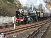 70013 makes an impressive sight (and sound!) storming up the grade�from the Calton Tunnel into�Waverley at the end of its journey from Inverness,�having been routed round the Sub to enter the station from the east. <br> <br><br>[Mark Poustie&nbsp;13/04/2010]