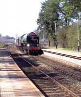 60163 <I>Tornado</I> powering through Dalston, Cumbria,� just after 1.30pm on 14 April with the <I>Cumbrian Coast Tornado</I>. The locomotive is heading for a well earned rest at Carlisle, having left Crewe around 7am. The weather could not have been better.<br> <br><br>[Brian Smith&nbsp;14/04/2010]