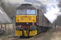 <I>'The Great Britain III'</I> heading south at Pitlochry on 13 April with 47760 coupled at the rear.<br> <br><br>[Bill Roberton&nbsp;13/04/2010]