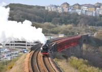 No 6201 <I>Princess Elizabeth</I>, with support coach in tow, comes off Jamestown Viaduct on the climb from Inverkeithing to North Queensferry on Tuesday 13 April 2010.<br> <br><br>[Andy Carr&nbsp;13/04/2010]