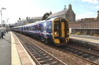 158735 runs into Kinghorn station on 15 April with a service to Glenrothes.<br><br>[John Steven&nbsp;15/04/2010]