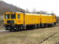 A rail grinder stabled in the sidings at Dunkeld on 13 April 2010.<br><br>[Brian Forbes&nbsp;13/04/2010]