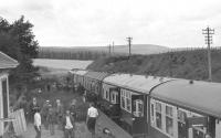 Grand Scottish Tour no 11 stands at Rothiemay on 5 September 1970 behind EE Type 4 no D364. [See image 28562]<br><br>[Bill Jamieson&nbsp;05/09/1970]