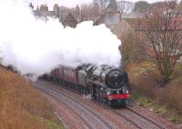 The first of the SRPS <i>Forth Circle</I> steam specials passes Aberdour on 18 April 2010 behind Britannia Pacific no 70013 <I>Oliver Cromwell</I>.<br><br>[Bill Roberton 18/04/2010]