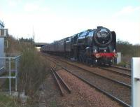 Britannia Steam Pacific no 70013 <I>Oliver Cromwell</I> about to run over Halbeath level crossing on 18 April 2010 with the SRPS <i>Forth Circle</i> railtour. <br><br>[Brian Forbes&nbsp;18/04/2010]