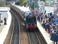 View south at Inverkeithing on 18 April as 70013 <I>Oliver Cromwell</I> arrives with the afternoon SRPS <i>Forth Circle</i> Railtour.<br> <br><br>[Mark Poustie&nbsp;18/04/2010]