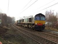 66424+66420 passing through Johnstone with the nuclear flask train from Hunterston to Carlisle on 18 February 2010<br><br>[Graham Morgan&nbsp;18/02/2010]