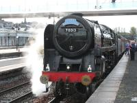 <I>Oliver Cromwell</I> waits at Stirling on 18 April with the afternoon SRPS <I>Forth Circle</I> Railtour before returning to Dalmeny and Inverkeithing via Linlithgow.�<br> <br><br>[Mark Poustie&nbsp;18/04/2010]