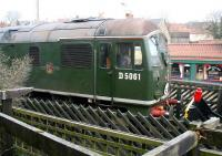 D5061 stands at the buffer stops at the south end of Pickering station on 24 March 2010 having just come off a NYMR train from Grosmont. <br><br>[John Furnevel&nbsp;24/03/2010]