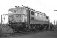 The crew of EM1 (class 76) electric locomotive E26014 about to climb aboard at Wath shed in August 1970 before moving off to pick up a westbound freight from the Yard.<br><br>[Bill Jamieson&nbsp;17/08/1970]