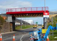 The new bridge over the A77 just to the north of Girvan station in position on 20 April 2010. [See image 28448]<br><br>[Colin Miller&nbsp;20/04/2010]