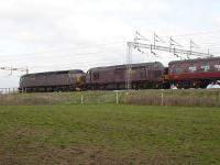 West Coast Railways liveried 47248+37516 northbound on the WCML on 20 April approaching Winsford double heading an empty stock working back to their Carnforth base. <br><br>[David Pesterfield&nbsp;20/04/2010]