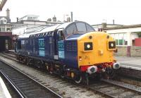 DRS 37087 stands at Keighley station in June 2008.<br><br>[Craig McEvoy&nbsp;08/06/2008]
