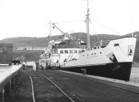 TSMV <I>Loch Seaforth</I> loading alongside the rail facilities on the quay at Mallaig in July 1963.<br> <br><br>[Colin Miller&nbsp;/07/1963]