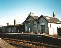 The since demolished station building (down side) at Kirkconnel, photographed in June 1998. Note the surviving clock face.<br><br>[David Panton&nbsp;/06/1998]