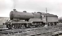 Robinson ex-GC  class D11 <I>Director</I> 4-4-0 no 62669 <I>Ypres</I> at Darnall shed, Sheffield, in the late 1950s.<br><br>[K A Gray&nbsp;//]