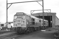 A1A-A1A Type 2s (class 31) nos 5550 and 5820 stand on Wath shed, mid afternoon on Monday 17 August 1970.<br> <br><br>[Bill Jamieson&nbsp;17/08/1970]