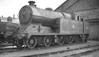 One of the large BR class A5 4-6-2T locomotives (originally GC class 9N) no 69828, awaits its fate in the yards at Darlington Works in early 1959. The locomotive had been withdrawn from Colwick shed in November the previous year. <br><br>[K A Gray&nbsp;//1959]