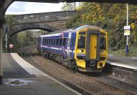 158707 draws to a halt at Burntisland on 26 April with a stopping service to Glenrothes with Thornton.<br> <br><br>[Bill Roberton&nbsp;26/04/2010]