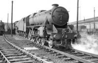 Black 5 no 45258 looking ready for action on Upperby shed on 31 May 1958  <br><br>[Robin Barbour Collection (Courtesy Bruce McCartney)&nbsp;31/05/1958]