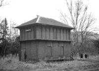 The former Caledonian Railway signal box at Peebles, closed in 1954, seen here eight years later in February 1962 - still looking remarkably intact.<br><br>[Frank Spaven Collection (Courtesy David Spaven)&nbsp;/02/1962]