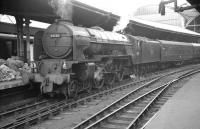 Newcastle Central in the early 1960s with York based A1 Pacific no 60150 <I>Willbrook</I> simmering quietly alongside a platform where the mailbags seem to have taken over.<br> <br><br>[K A Gray&nbsp;//]