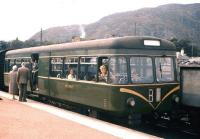 A railbus waiting to leave Aviemore for Elgin via the Speyside line in the summer of 1961.<br><br>[Frank Spaven Collection (Courtesy David Spaven)&nbsp;//1961]