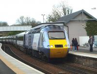 An East Coast HST, led by 43313 with 43300 at the<br> rear, forming the 1451 Aberdeen to London Kings Cross service. Photographed arriving at Inverkeithing on 30 April 2010. <br><br>[Brian Forbes&nbsp;30/04/2010]
