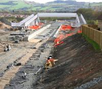 Progress on the new station at Armadale on 2 May 2010. View east towards Bathgate. [See image 33819]<br><br>[John Furnevel 02/05/2010]