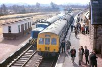 One of the first passenger-carrying trains to reach Boat of Garten after its reincarnation as the terminus of the Strathspey Railway - a 101 DMU from Perth - stands at the station on 7 April 1973.<br><br>[Frank Spaven Collection (Courtesy David Spaven)&nbsp;07/04/1973]