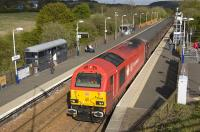 The evening Edinburgh - Fife Circle loco-hauled commuter train arrives in bright Sunshine at Rosyth on 3 May 2010 behind DBS 67018 <I>Keith Heller</I>.<br> <br><br>[Bill Roberton&nbsp;03/05/2010]