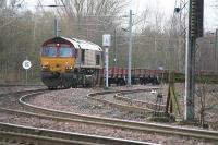 EWS 66080 reverses a trainload of ballast spoil for unloading at the mound at the top end of Millerhill yard in January 2006.<br><br>[James Young&nbsp;25/01/2006]