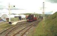 Hunslet NG no 823 'Irish Mail' waiting with the next train at Leadhills station on the Leadhills and Wanlockhead Railway in July 1993. The locomotive was visiting from the West Lancashire Light Railway. <br> <br><br>[John McIntyre&nbsp;11/07/1993]