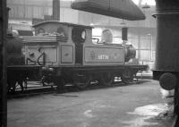 J72 0-6-0T no 68736 photographed inside one of the roundhouses at Gateshead in the early 1960s.<br><br>[K A Gray&nbsp;//]
