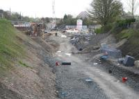 View east over work in progress at the Caldercruix station site on 2 May 2010.<br><br>[John Furnevel&nbsp;02/05/2010]